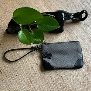 Coach Black/White Leather Trimmed Wristlet